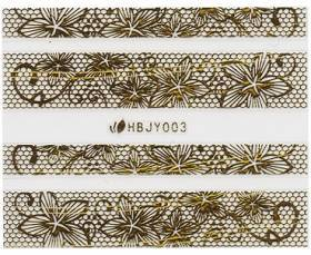 3D Lace Metallic Sticker - gold