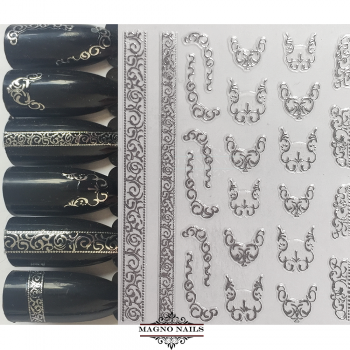 3D Metallic Nail Sticker  - silber