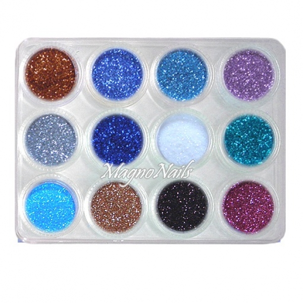 12 x Nail Art Glitterpuder in einer Box